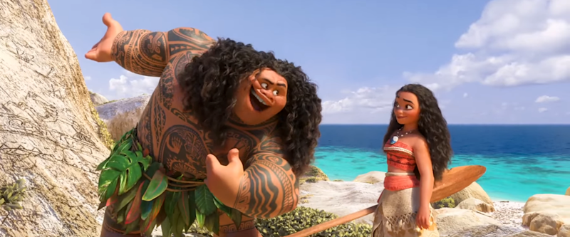 Maui (The Rock) sings 'You're Welcome' to Moana (Auli'i Cravalho). (Credit: Disney)