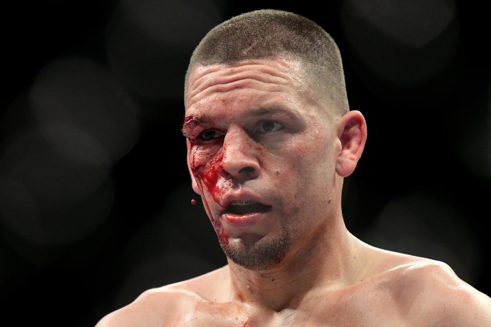 """NEW YORK, NEW YORK - NOVEMBER 02: Nate Diaz of the United States fights against Jorge Masvidal (not pictured) of the United States in the Welterweight """"BMF"""" championship bout during UFC 244 at Madison Square Garden on November 02, 2019 in New York City. (Photo by Steven Ryan/Getty Images)"""