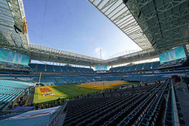 Hard Rock Stadium is the site of Sunday's Super Bowl between the Kansas City Chiefs and San Francisco 49ers. (AP Foto/David J. Phillip)