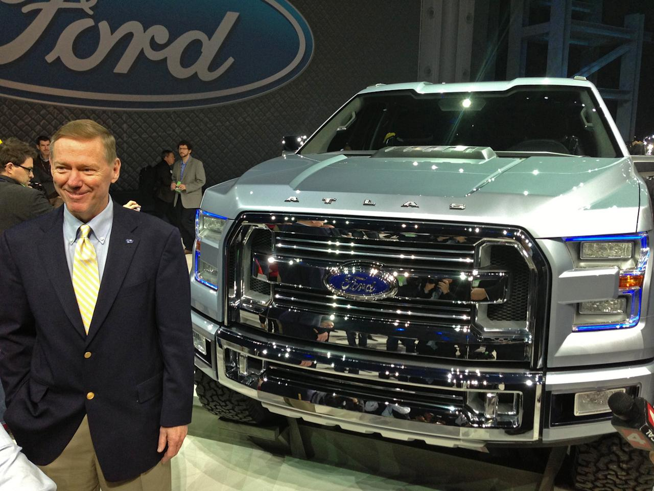 Ford Chief Executive Alan Mulally with the Ford Atlas concept