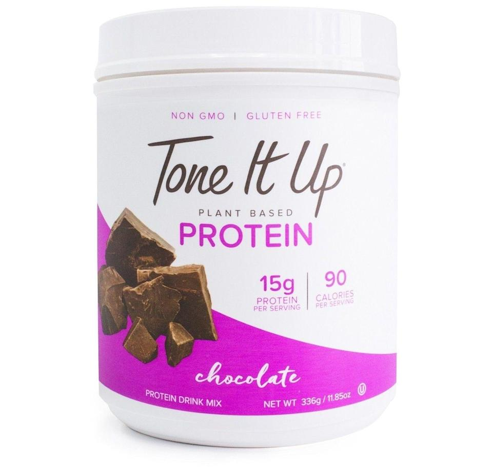 """<p><a class=""""link rapid-noclick-resp"""" href=""""https://www.target.com/p/tone-it-up-plant-based-protein-powder-chocolate-11-85oz/-/A-51495878"""" rel=""""nofollow noopener"""" target=""""_blank"""" data-ylk=""""slk:BUY NOW"""">BUY NOW</a> <strong><em>$24, target.com</em></strong><br></p><p>You can only get these powders at Target. The collection launched with three flavors — chocolate, vanilla, and coconut — and customers loved them so much, another two were added recently: peanut butter and cafe latte.</p>"""