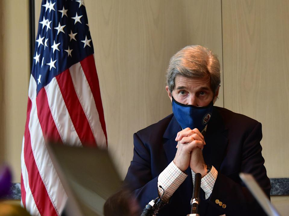 US Special Presidential Envoy for Climate John Kerry speaks during a press conference on 18 April, 2021 in Seoul, South Korea. Mr Kerry offered an apology for former President Donald Trump's 'renegade' stance on climate change. (U.S. Embassy via Getty Images)