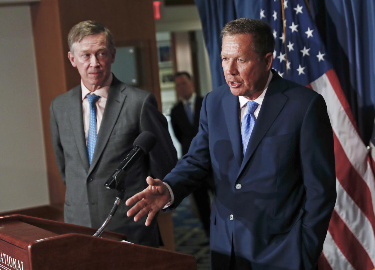 <p> FILE - In this June 27, 2017, file photo, Ohio Gov. John Kasich, right, joined by Colorado Gov. John Hickenlooper, left, speaks during a news conference at the National Press Club in Washington. Kasich, a Republican, and Hickenlooper, a Democrat, scheduled a Friday, Feb. 23, 2018, news conference in Washington to outline their latest bipartisan policy work for improving the nation's health care system. (AP Photo/Carolyn Kaster, File) </p>