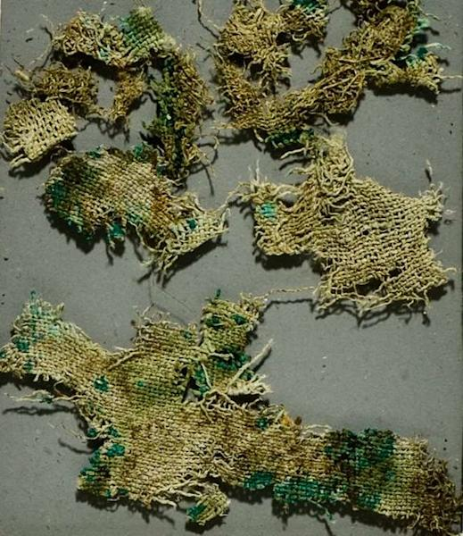 The 2,800-year-old Lusehøj textile made from imported nettles and found in a grave along with the bones from what may be a Scandinavian man, scientists report on Sept. 28, 2012.