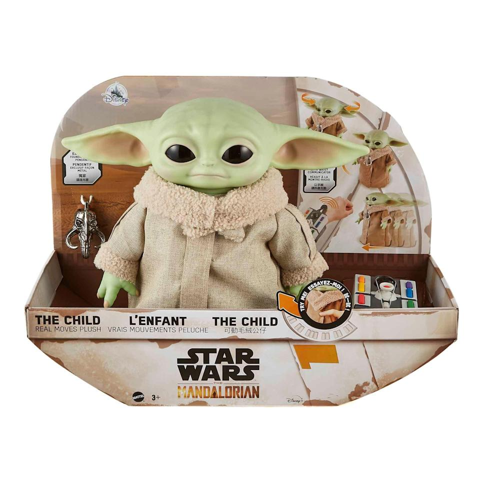 The 11-inch remote-controlled The Child Real Moves Plush toy ($69.99) makes noises, moves its head, ears, and arm, as well as shuffles around your home. The toy is available for pre-order now on shopDisney.com, due in stores Nov. 9.