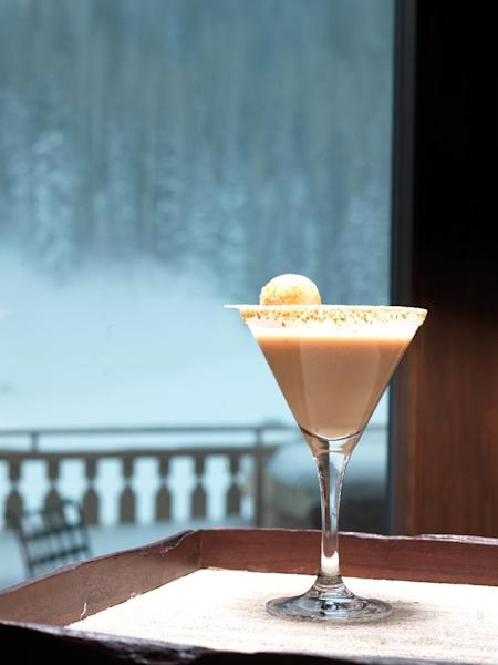 This undated photo provided by the Montage Deer Valley in Park City, Utah, shows a martini served at the resort that's named for S'mores, the classic childhood treat of melted chocolate and marshmallow on a graham cracker. The cocktail includes Baileys Irish cream, vodka, cocoa and graham cracker. It's one of a number of specialty drinks offered for the après ski crowd at resort areas around the West. (AP Photo/Montage Deer Valley)