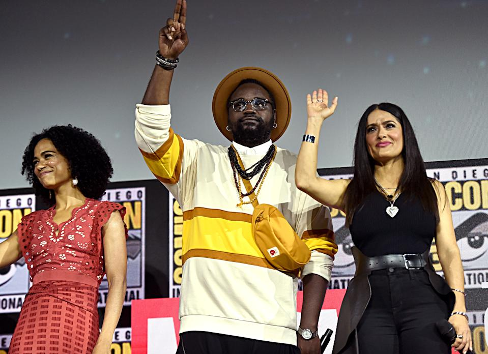 SAN DIEGO, CALIFORNIA - JULY 20: (L-R) Lauren Ridloff, Brian Tyree Henry and Salma Hayek of Marvel Studios' 'The Eternals' at the San Diego Comic-Con International 2019 Marvel Studios Panel in Hall H on July 20, 2019 in San Diego, California. (Photo by Alberto E. Rodriguez/Getty Images for Disney)