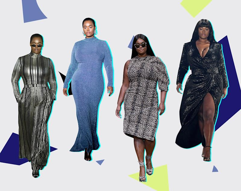 Precious Lee walks the runway at Christian Siriano fall 2019 (far left and second from left), Christian Siriano spring 2019, and 11 Honoré.