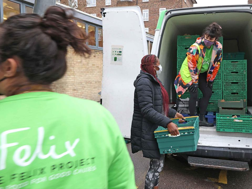 The Felix Project van makes a delivery to the Concorde Youth Centre in Hackney (NIGEL HOWARD)