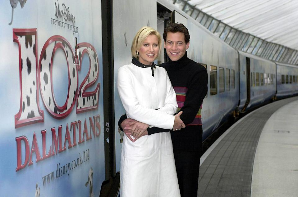 Alice Evans who plays Chloe Simon and Ioan Gruffudd who plays Kevin Shepherd in the new film 102 Dalmatians at Waterloo Station in London, to launch Disney's 102 Dalmatians Eurostar train.