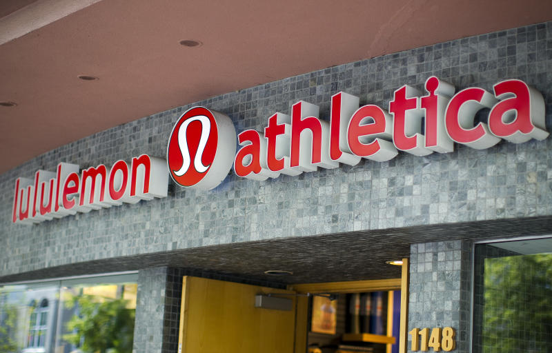 Yogawear retailer Lululemon Athletica Inc's logo is pictured at its store in downtown Vancouver June 11, 2014. REUTERS/Ben Nelms (CANADA - Tags: BUSINESS LOGO)