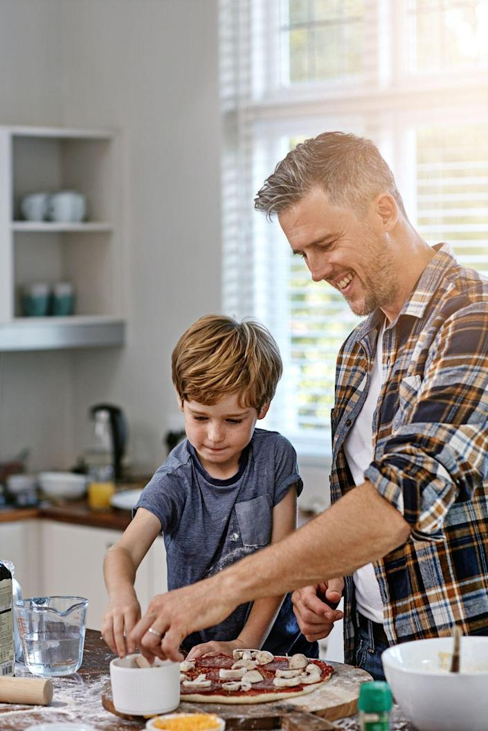 """<p>Ree's not the <em>only</em> one who gets her own cooking show! Dad and kids can create a cooking show of their very own, making something tasty and easy together like <a href=""""https://www.thepioneerwoman.com/food-cooking/recipes/a35936875/roasted-veggie-cast-iron-pizza-recipe/"""" rel=""""nofollow noopener"""" target=""""_blank"""" data-ylk=""""slk:pizza"""" class=""""link rapid-noclick-resp"""">pizza</a>. Meanwhile, have someone film everything on their smartphone. Watch it later for guaranteed smiles. </p><p><a class=""""link rapid-noclick-resp"""" href=""""https://go.redirectingat.com?id=74968X1596630&url=https%3A%2F%2Fwww.walmart.com%2Fsearch%2F%3Fquery%3Dpizza%2Bstone&sref=https%3A%2F%2Fwww.thepioneerwoman.com%2Fholidays-celebrations%2Fg36333267%2Ffathers-day-activities%2F"""" rel=""""nofollow noopener"""" target=""""_blank"""" data-ylk=""""slk:SOHP PIZZA STONES"""">SOHP PIZZA STONES</a></p>"""