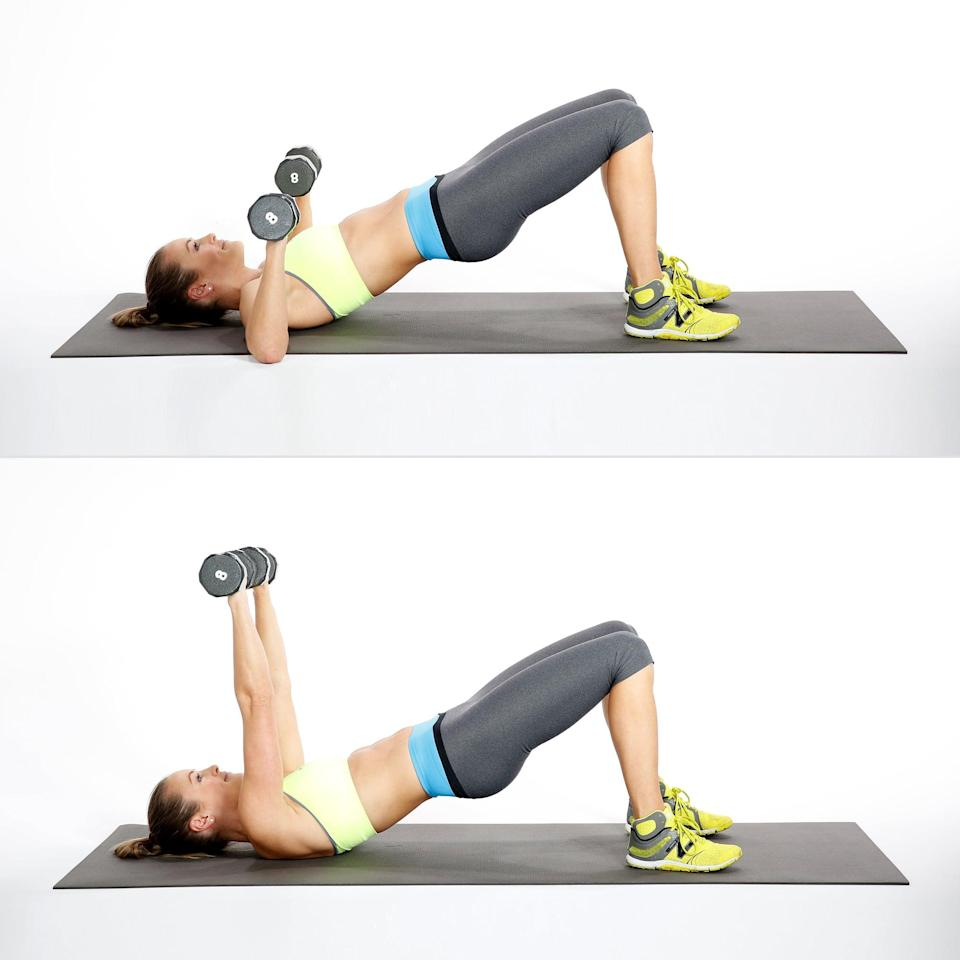 <ul> <li>Start on your back with your knees bent and your feet hip-distance apart. Hold weights by your chest.</li> <li>Squeeze your glutes as you push your pelvis toward the ceiling, coming into a bridge. Keep your ribs aligned with your pelvis.</li> <li>Holding the bridge, press the weights to the ceiling directly above your shoulders.</li> <li>Lower the weights to complete the rep.</li> </ul>