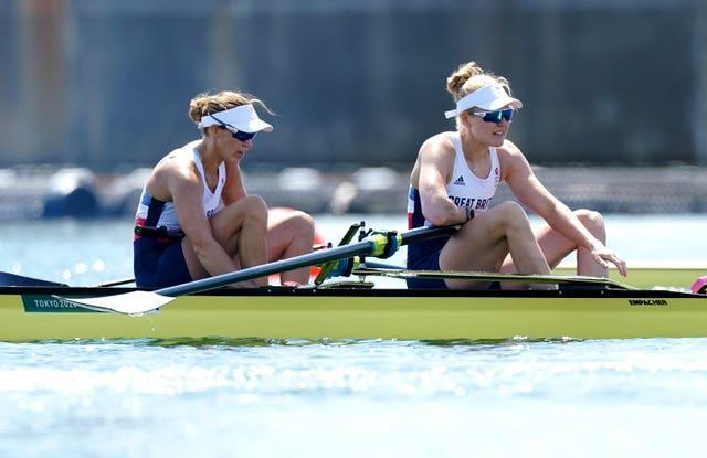 Helen Glover and Polly Swann qualified for the women's pairs semi-finals after finishing third in their heat