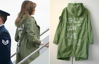 "<p>First Lady Melania Trump boards a plane to visit detention centers holding migrant children in McAllen, Texas, on June 21, 2018, <a href=""https://people.com/style/melania-trump-visits-migrant-children-in-really-dont-care-jacket/"" rel=""nofollow noopener"" target=""_blank"" data-ylk=""slk:wearing a green Zara jacket"" class=""link rapid-noclick-resp"">wearing a green Zara jacket</a> featuring the words ""I Really Don't Care, Do U?"" written in graffiti lettering across the back. </p> <p>Her visit came on the heels of the president's<a href=""https://people.com/politics/president-trump-executive-order-child-separation-policy/"" rel=""nofollow noopener"" target=""_blank"" data-ylk=""slk:decision to reverse his administration's policy to separate children from their detained parents"" class=""link rapid-noclick-resp""> decision to reverse his administration's policy to separate children from their detained parents</a> who crossed the border into the United States seeking asylum. He'd first signed such his zero-tolerance order that May, resulting in the separation of more than 2,300 children from their parents. (As of October 2020, <a href=""https://people.com/politics/lawyers-still-havent-tracked-down-the-parents-of-545-separated-children/"" rel=""nofollow noopener"" target=""_blank"" data-ylk=""slk:more than 500 children"" class=""link rapid-noclick-resp"">more than 500 children</a> remained separated from their parents.) Responding to heavy criticism over the jacket four months later, the first lady — whose spokeswoman at first denied the piece was making a statement — said the ""I Really Don't Care"" message was <a href=""https://people.com/politics/melania-trump-i-dont-care-jacket-message-to-media-interview/"" rel=""nofollow noopener"" target=""_blank"" data-ylk=""slk:aimed at the &quot;left-wing media.&quot;"" class=""link rapid-noclick-resp"">aimed at the ""left-wing media.""</a></p>"