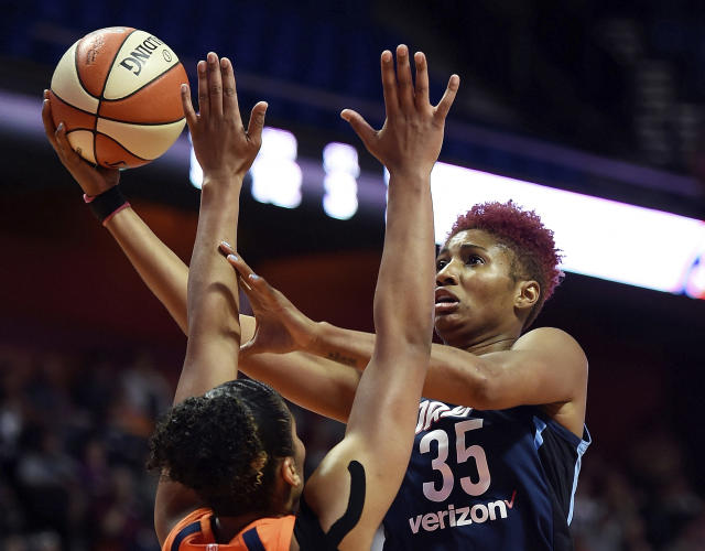 "<a class=""link rapid-noclick-resp"" href=""/wnba/teams/atl"" data-ylk=""slk:Atlanta Dream"">Atlanta Dream</a> forward <a class=""link rapid-noclick-resp"" href=""/wnba/players/4561/"" data-ylk=""slk:Angel McCoughtry"">Angel McCoughtry</a> will miss the remainder of the season after tearing ligaments in her left knee on Tuesday night, the team announced on Thursday. (Sean D. Elliot/The Day via AP)"