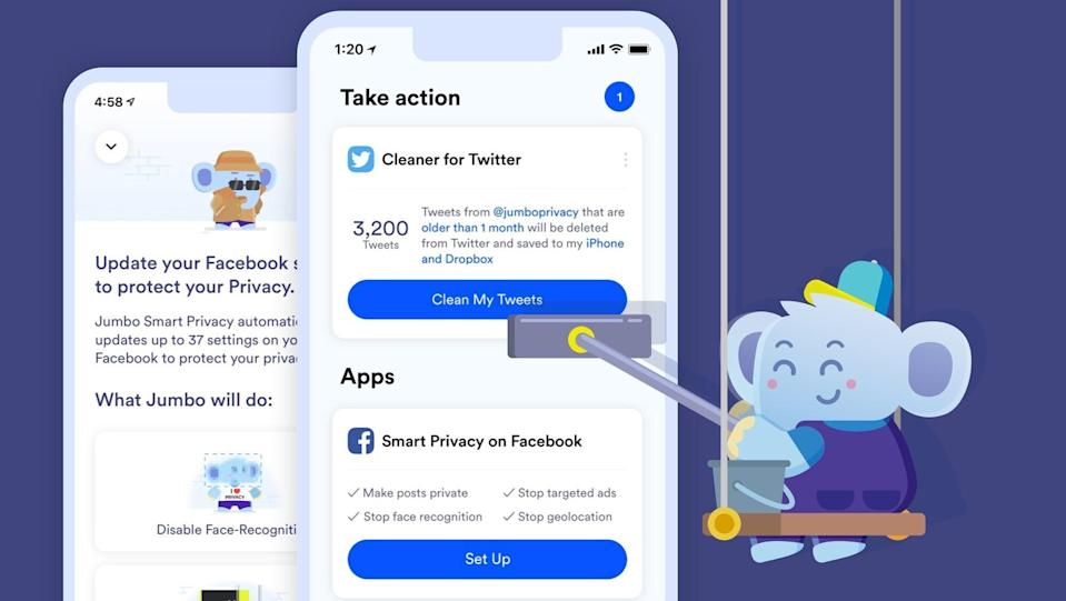 Jumbo app with blue elephant mascot cleaning cell phone screens