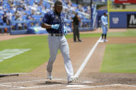 Tampa Bay Rays' Randy Arozarena scores against the Toronto Blue Jays during the first inning of a baseball game Sunday, May 23, 2021, in Dunedin, Fla. (AP Photo/Mike Carlson)