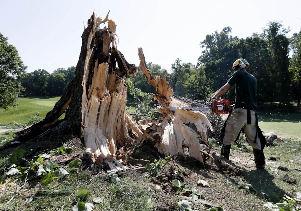 A worker uses a chainsaw to clear a tree that fell onto the 14th fairway at Congressional Country Club in Bethesda, Md., Saturday, June 30, 2012, after a strong storm blew through overnight. The AT&T National golf tournament was postponed to allow workers to clear the course. (AP Photo/Patrick Semansky)