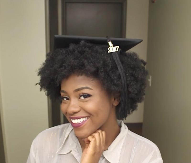 This beauty vlogger shared a brilliant hack for putting a graduation cap over natural hair