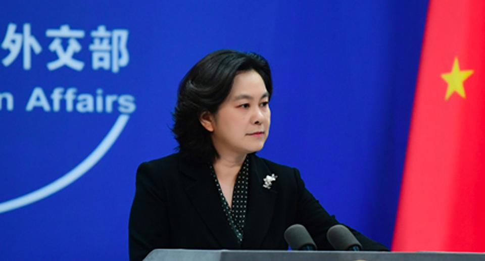 Hua Chunying dismissed criticism of China's involvement in the mission. Source: FMPRC
