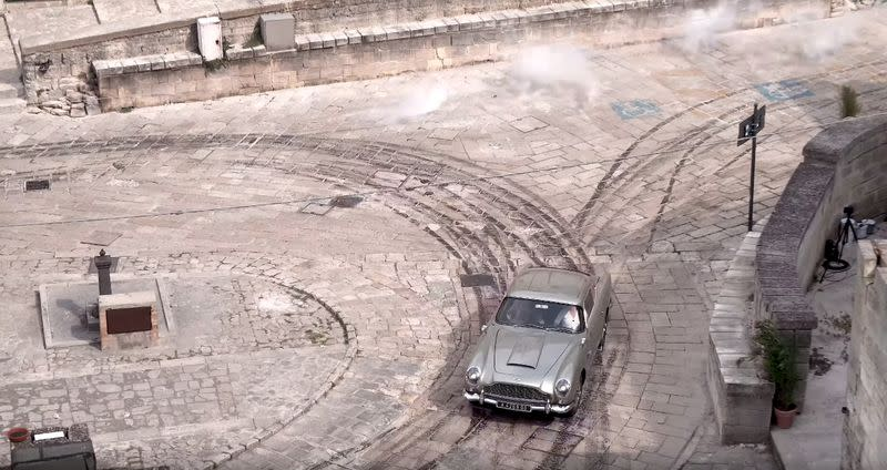 FILE PHOTO: An Aston Martin DB5 is seen during a car chase on the set of the new James Bond movie 'No Time to Die' in Matera