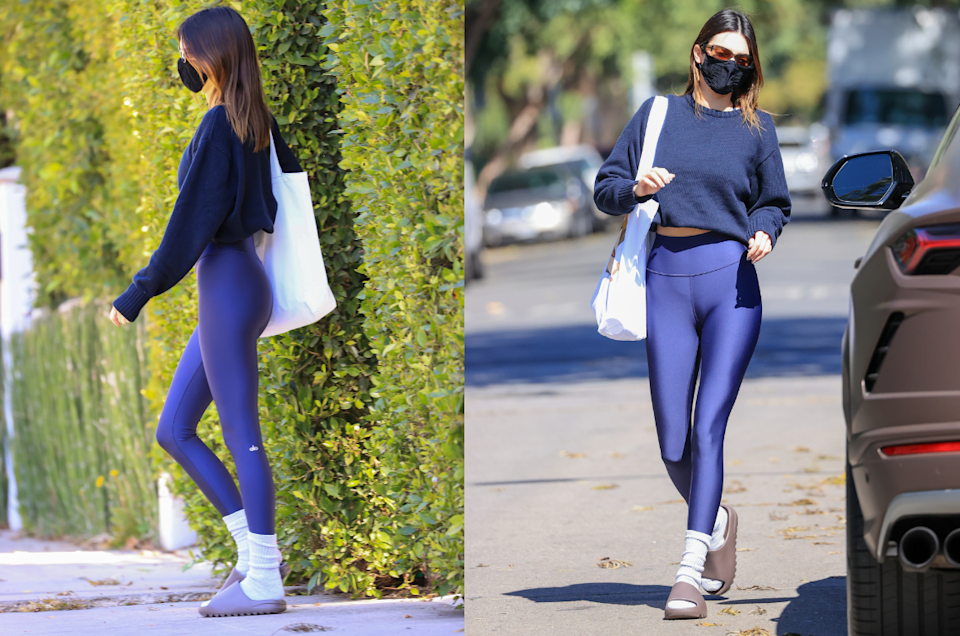 Kendall Jenner hit the pilates mat in a pair of Alo Yoga High Waist Airbrush Leggings. Images courtesy of ALO Yoga.