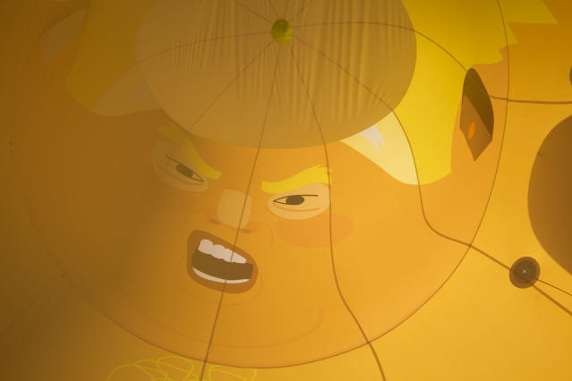 <p>Inside the six meter high inflatable Trump Baby during his first London outing inside the disused North London playground, Islington, London, Britain, June 28, 2018. The plan, is to fly him above Parliament Square in Westminster when the real Trump, president of the United States arrives in the United Kingdom on the 13th of July 2018. (photo: Andrew Aitchison / In pictures via Getty Images) </p>