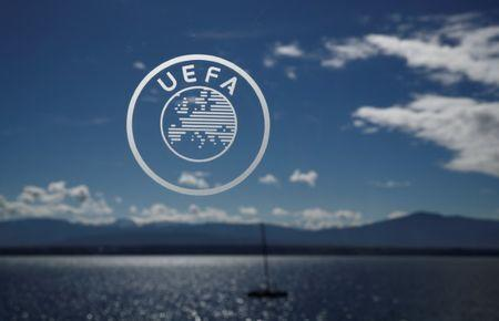 FILE PHOTO: General view of the UEFA logo before the draw REUTERS/Stefan Wermuth