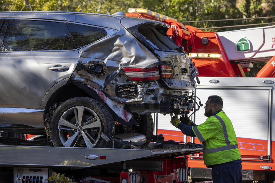 Golf legend Tiger Woods's car after a crash near LA.