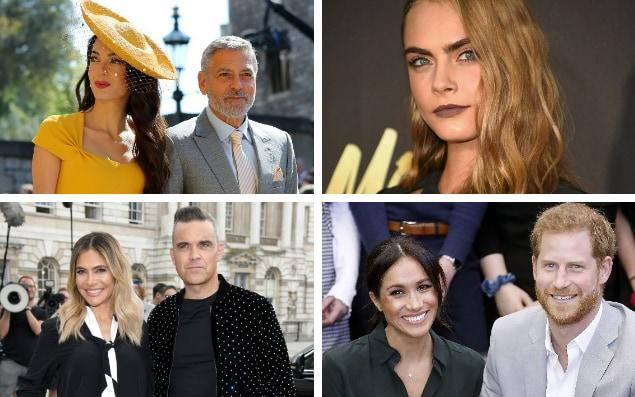 The Clooneys, Cara Develingne, Robbie Williams and his wife Ayda, and the Duke and Duchess of Sussex are all rumoured to be on the guest list - PA / Reuters / WireImage / Getty
