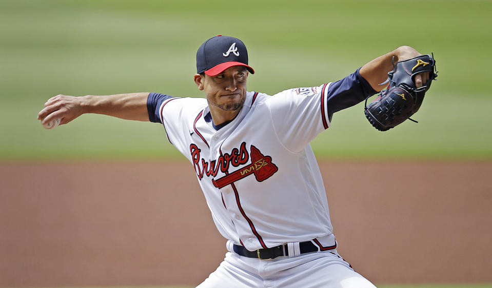 Atlanta Braves pitcher Charlie Morton works against the Toronto Blue Jays in the first inning of a baseball game Thursday, May 13, 2021, in Atlanta. (AP Photo/Ben Margot)