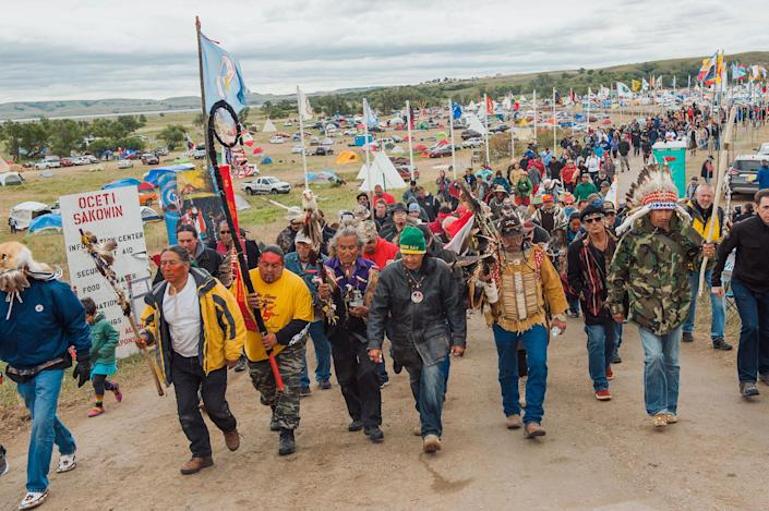 <p>Protesters demonstrate against the Dakota Access oil pipeline near the Standing Rock Sioux reservation in Cannon Ball, N.D., on Sept. 9, 2016. (Photo: Andrew Cullen/Reuters) </p>