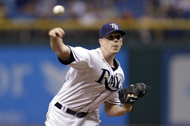 Tampa Bay Rays starting pitcher Jeremy Hellickson delivers to Arizona Diamondbacks' Gerardo Parra during the first inning of an interleague baseball game on Wednesday, July 31, 2013, in St. Petersburg, Fla. (AP Photo/Chris O'Meara)