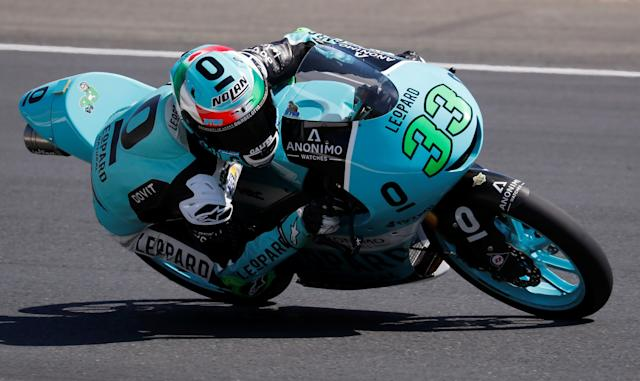 Motorcycling - Moto3 - French Grand Prix - Bugatti Circuit, Le Mans, France - May 19, 2018 Leopard Racing's Enea Bastianini during qualifying REUTERS/Gonzalo Fuentes
