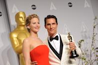Academy Award Winners L-R: Jennifer Lawrence, Matthew McConaughey in the press room during the 86th Annual Academy Awards, held at the Dolby Theater in Hollywood, California, Sunday, March 2, 2014. (Photo by Jennifer Graylock/Sipa USA)