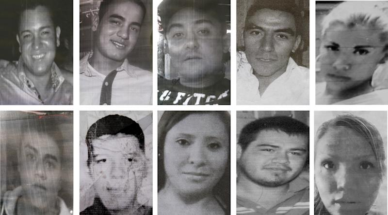 FILE - In this file photo composite of images taken from flyers made by relatives showing 10 of at least 12 young people who were kidnapped in broad daylight from an after hours bar in Mexico City on May 26, 2013. Ricardo Martinez, an attorney for the families of at least 12 of the people who disappeared at the nightclub said on Thursday, Aug. 22, 2013 that officials discovered 13 bodies and are investigating whether they are those of the missing. Martinez says a suspect in the Heaven case led officials to two graves containing the bodies. From left to right, top row; Josue Piedra Moreno, Aaron Piedra Moreno, Rafael Rojas, Alan Omar Athiencia Barragon, Jennifer Robles Gonzalez. From left to right, bottom row; Jerzy Ortiz Ponce, Said Sanchez Garcia, Guadalupe Morales Vargas, Eulogio Foseca Arreola, Gabriela Tellez Zamudio. (AP Photo/Marco Ugarte, File)