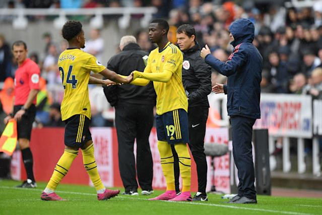 Nicolas Pepe made his Arsenal debut as a substitute. (Photo by Stu Forster/Getty Images)