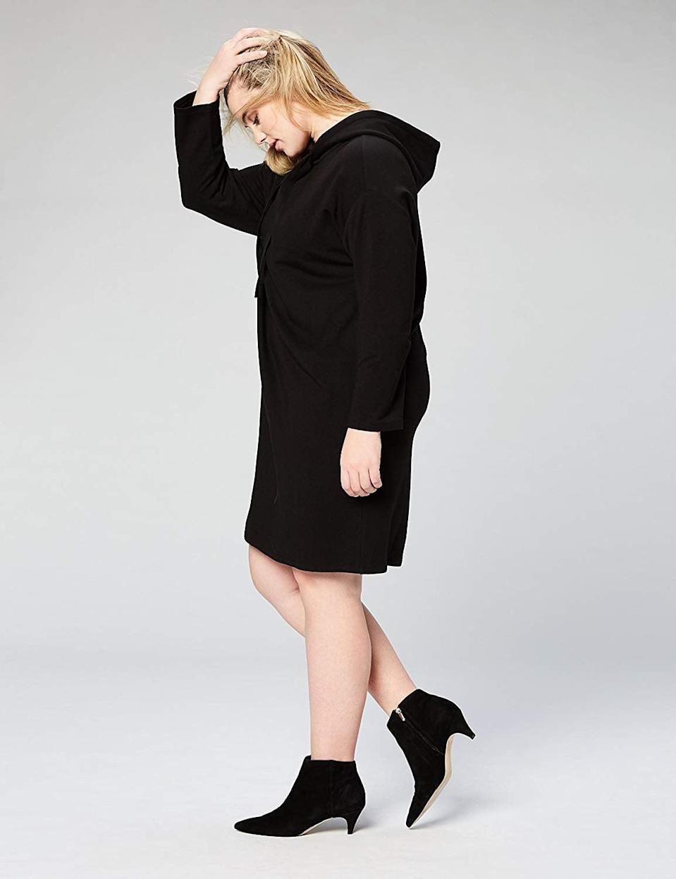 """<p>Style this <a href=""""https://www.popsugar.com/buy/Daily-Ritual-Women-Terry-Cotton-Sweatshirt-Dress-507386?p_name=Daily%20Ritual%20Women%27s%20Terry%20Cotton%20Sweatshirt%20Dress&retailer=amazon.com&pid=507386&price=30&evar1=fab%3Aus&evar9=46310389&evar98=https%3A%2F%2Fwww.popsugar.com%2Ffashion%2Fphoto-gallery%2F46310389%2Fimage%2F46811997%2FDaily-Ritual-Women-Terry-Cotton-Sweatshirt-Dress&list1=shopping%2Cfall%20fashion%2Camazon%2Csummer%20fashion%2C50%20under%20%2450%2Caffordable%20shopping&prop13=mobile&pdata=1"""" rel=""""nofollow noopener"""" class=""""link rapid-noclick-resp"""" target=""""_blank"""" data-ylk=""""slk:Daily Ritual Women's Terry Cotton Sweatshirt Dress"""">Daily Ritual Women's Terry Cotton Sweatshirt Dress</a> ($30) with your favorite sneakers.</p>"""