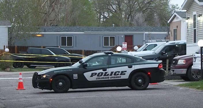 Police respond to the scene of a shooting in Colorado Springs, Colo., on May 9, 2021. (KUSA)