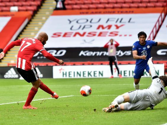 David McGoldrick fires Sheffield United in front in the first half (EPA)