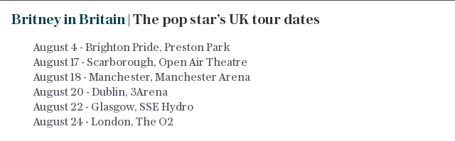 Britney in Britain | The pop star's UK tour dates