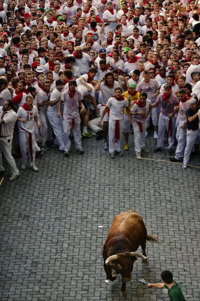 "A reveler drives an Alcurrucen's ranch fighting bull to the bullring during the running of the bulls of the San Fermin festival, in Pamplona, Spain, Sunday, July 7, 2013. Revelers from around the world arrive to Pamplona every year to take part in some of the eight days of the running of the bulls glorified by Ernest Hemingway's 1926 novel ""The Sun Also Rises."" (AP Photo/Daniel Ochoa de Olza)"