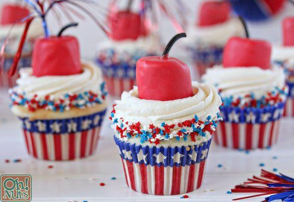 """<p>These clever cupcakes use a candy-coated marshmallow and some licorice to look like a firecracker!</p><p><strong>Get the recipe at <a href=""""https://www.ohnuts.com/blog/firecracker-cupcakes-for-the-fourth-of-july/"""" rel=""""nofollow noopener"""" target=""""_blank"""" data-ylk=""""slk:Oh Nuts"""" class=""""link rapid-noclick-resp"""">Oh Nuts</a>.</strong><br><br><a class=""""link rapid-noclick-resp"""" href=""""https://go.redirectingat.com?id=74968X1596630&url=https%3A%2F%2Fwww.walmart.com%2Fsearch%2F%3Fquery%3Dcupcake%2Bliners&sref=https%3A%2F%2Fwww.thepioneerwoman.com%2Ffood-cooking%2Frecipes%2Fg36343624%2F4th-of-july-cupcakes%2F"""" rel=""""nofollow noopener"""" target=""""_blank"""" data-ylk=""""slk:SHOP CUPCAKE LINERS"""">SHOP CUPCAKE LINERS</a></p>"""