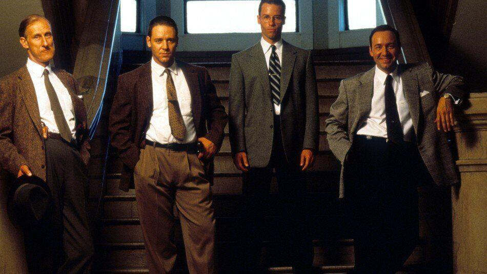 James Cromwell, Russell Crowe, Guy Pearce and Kevin Spacey in LA Confidential (Credit: Warner Bros)