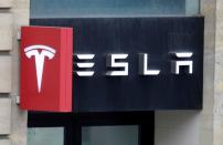 FILE PHOTO: Logo of Tesla