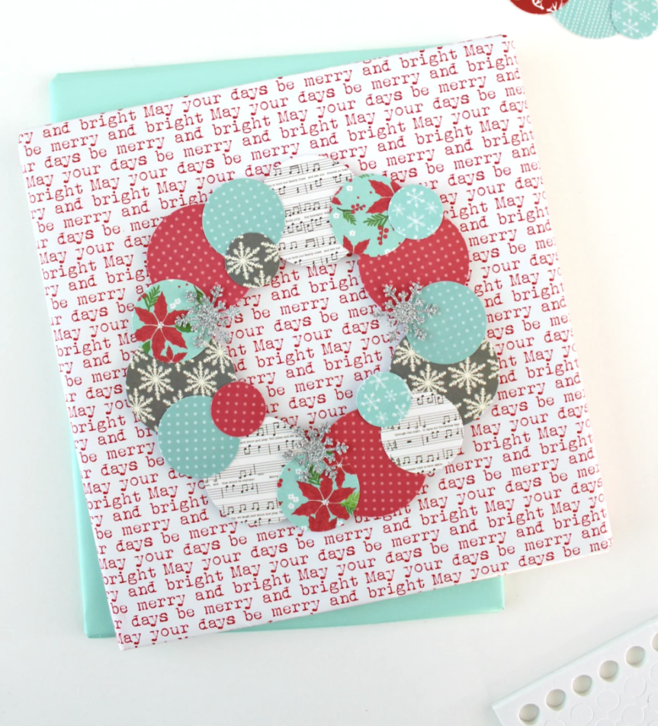 """<p>Use a circle-shaped punch cutter to swiftly make enough shapes to craft dozens of paper wreaths that are perfect for adorning greeting cards. </p><p><em>Get the tutorial at <a href=""""https://www.whitehousecrafts.net/post/2017/11/14/holiday-paper-wreaths"""" rel=""""nofollow noopener"""" target=""""_blank"""" data-ylk=""""slk:White House Crafts"""" class=""""link rapid-noclick-resp"""">White House Crafts</a>.</em> </p><p><a class=""""link rapid-noclick-resp"""" href=""""https://www.amazon.com/CADY-Crafts-1-Inch-Punches-Circle/dp/B013NESBKK/?tag=syn-yahoo-20&ascsubtag=%5Bartid%7C10072.g.34351112%5Bsrc%7Cyahoo-us"""" rel=""""nofollow noopener"""" target=""""_blank"""" data-ylk=""""slk:SHOP PUNCH CUTTER"""">SHOP PUNCH CUTTER</a></p>"""