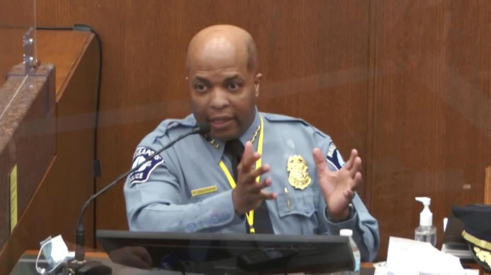 In this image from video, witness Minneapolis Police Chief Medaria Arradondo testifies on April 5, 2021, in the trial of former Minneapolis police Officer Derek Chauvin at the Hennepin County Courthouse in Minneapolis. Law enforcement leaders say the conviction of former Minneapolis Police Officer Derek Chauvin for George Floyd's death is a step toward restoring trust in the criminal justice system and repairing relations with communities. (Court TV via AP, Pool)