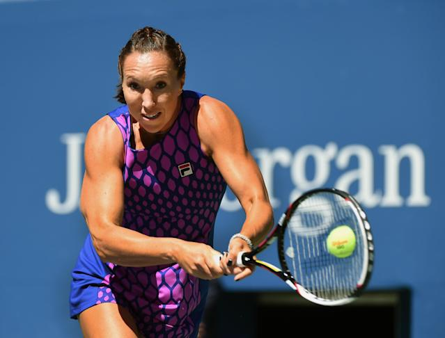Jelena Jankovic of Serbia plays against Johanna Larsson of Sweden during their 2014 US Open women's singles match on August 29, 2014 in New York (AFP Photo/Timothy A. Clary)