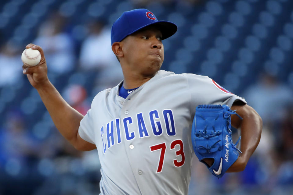 Chicago Cubs starting pitcher Adbert Alzolay delivers during the first inning of a baseball game against the Pittsburgh Pirates in Pittsburgh, Monday, July 1, 2019. (AP Photo/Gene J. Puskar)